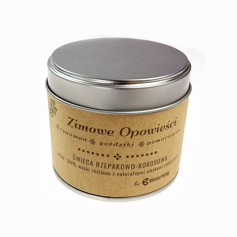 Eco-friendly rapeseed-coconut candle with cinnamon, clove and orange essential oils in a metal can