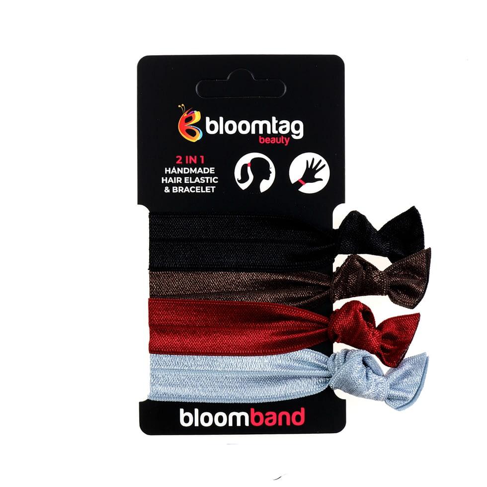 Zestaw gumek do włosów typu twistband w czerni, burgundu, brązu i srebra.