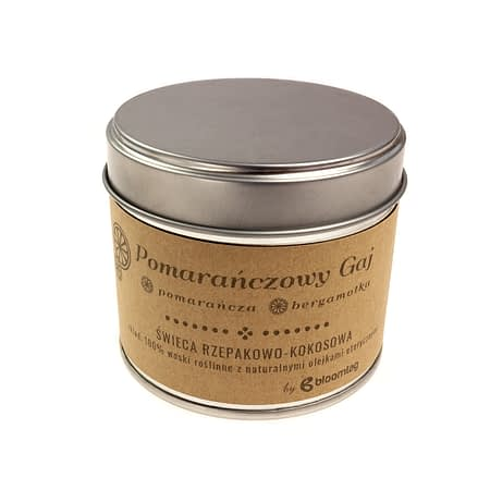 Eco-friendly rapeseed-coconut candle with orange and bergamot essential oils in a metal can