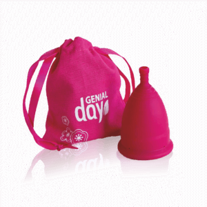 Mentrual cup from Gentle Day in dark pink.