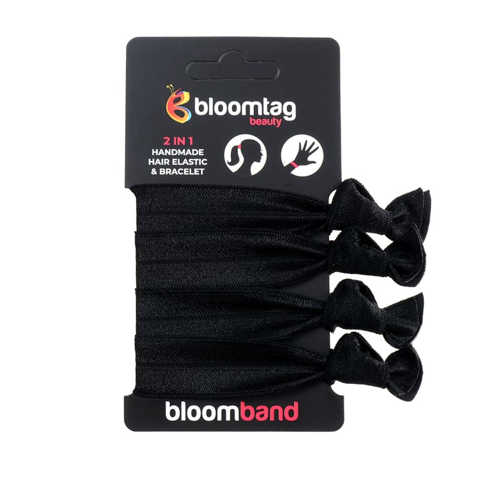 Set of four hair bands in black.