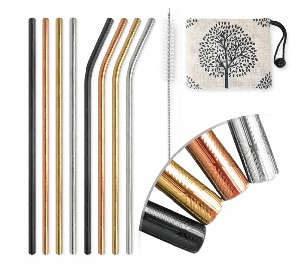Stainless steel straws in various colors.