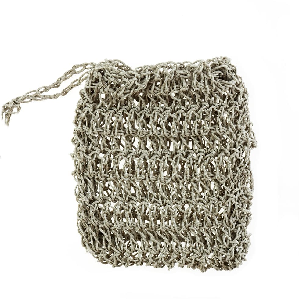 Linen crocheted pouch in natural color.