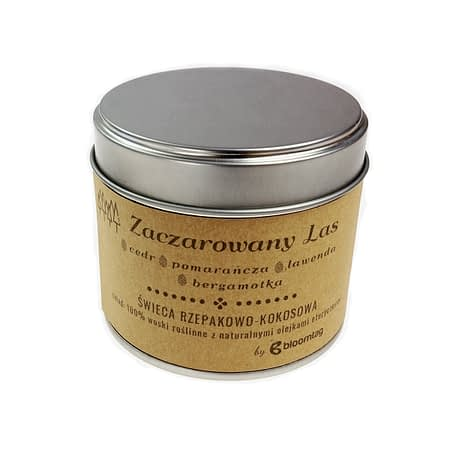 Eco-friendly rapeseed-coconut candle with cedar, lavender essential oils in a metal can