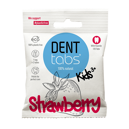 Denttabs toothpaste tablets packaged in a biodegradable paper sachet.
