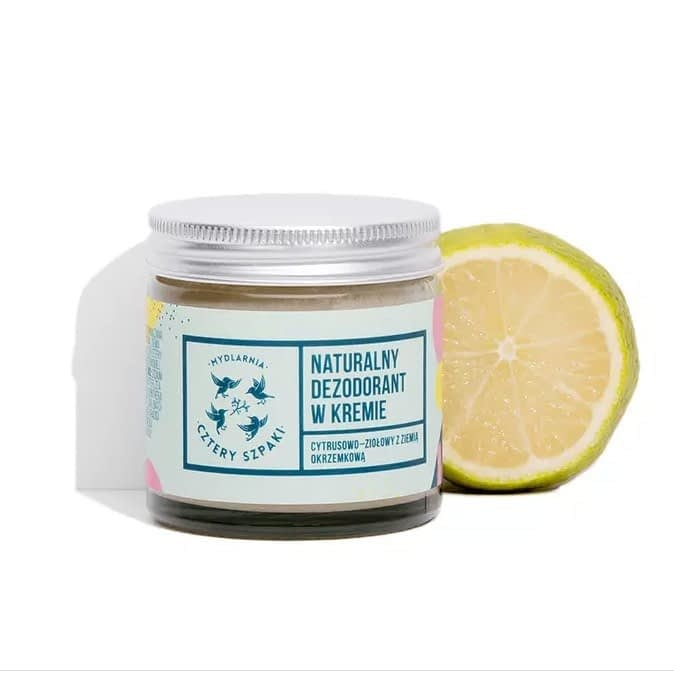 Natural citrus and herbal cream deodorant from Four Starlings packaged in a glass jar.