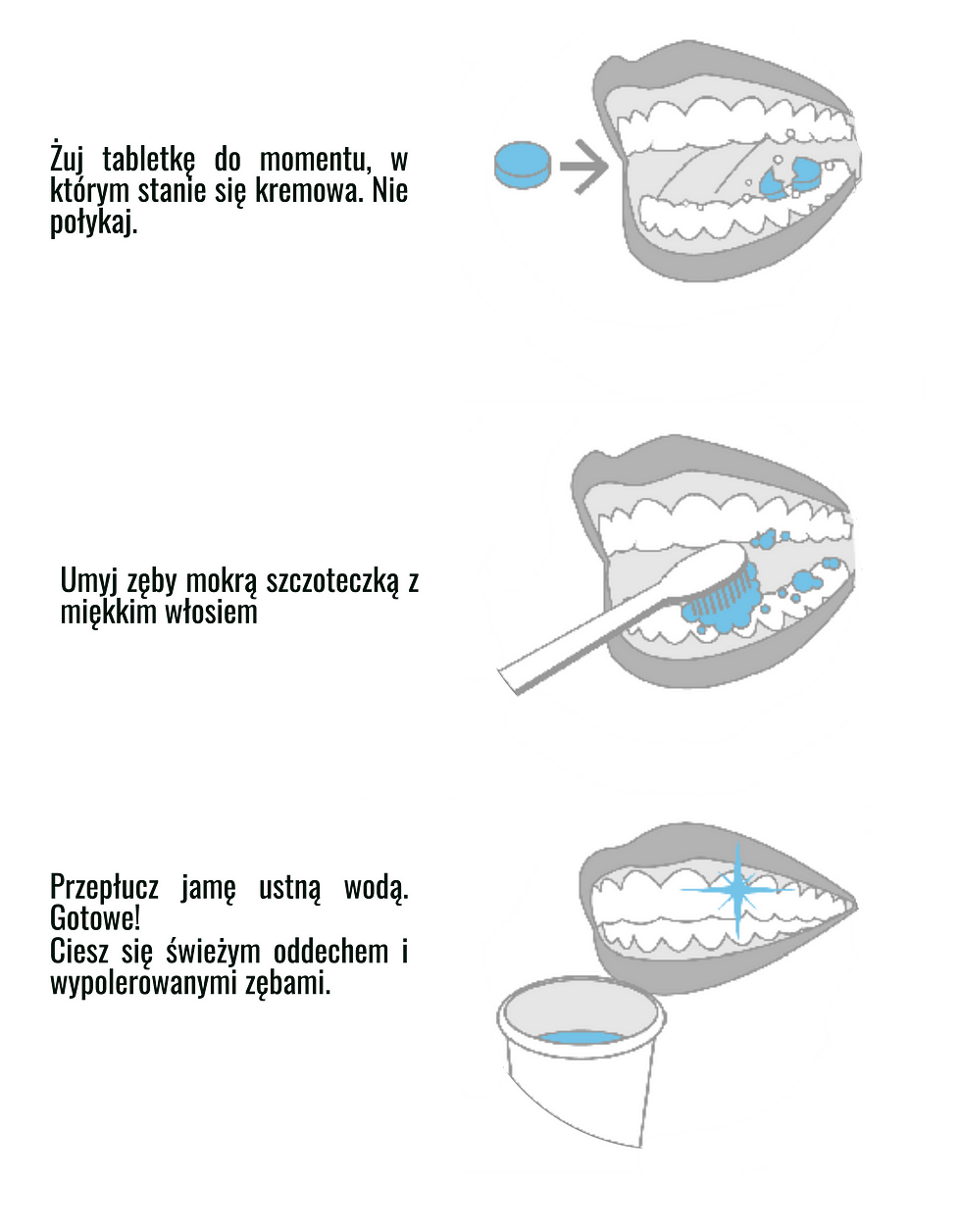 Picture shows how to properly brush teeth.